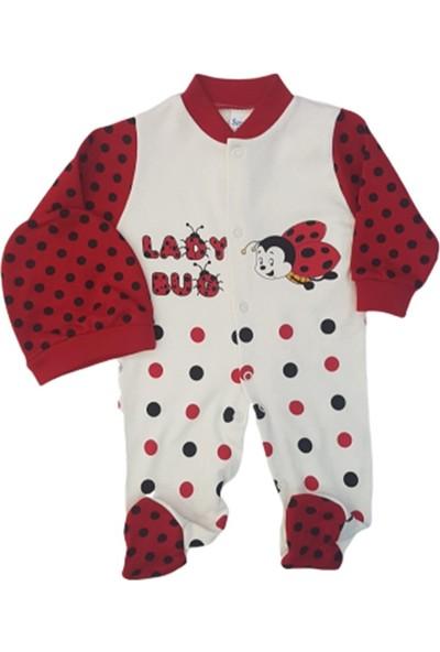 Sercinyo Baby 42 Kız Bebek Böcek Baskılı Şapkalı Penye Tulum