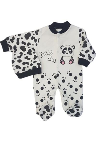 Sercinyo Baby 42 Panda Baskılı Şapkalı Penye Tulum