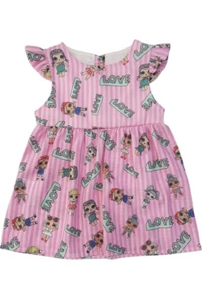 Bıdırık Kids 875 Kız Bebek Keten Love Baskılı Elbise