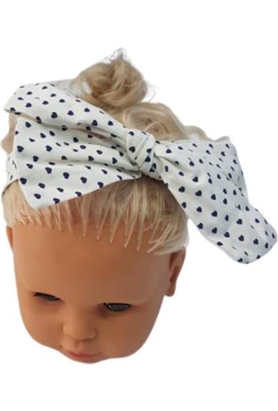 Albimama 12025 Kız Bebek Kalp Desenli Baby Poplin Bandana