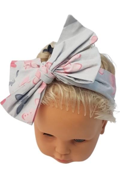 Albimama 12025 Kız Bebek Kelebek Desenli Poplin Bandana