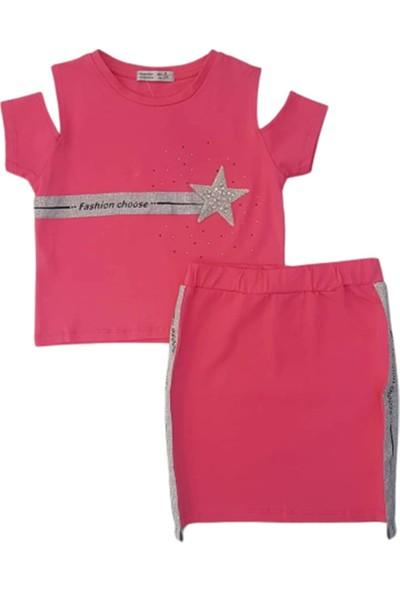 Minnak Kids 10741 Yıldız Taşlı Şeritli Kız Çocuk Etekli Takım
