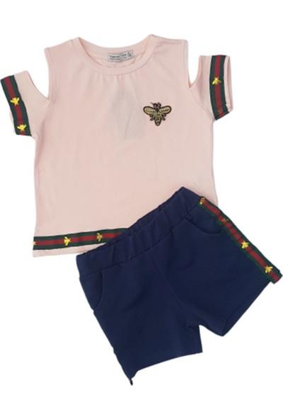 Minnak Kids 10739 Arı Nakışlı Şortlu Kız Çocuk Penye Takım