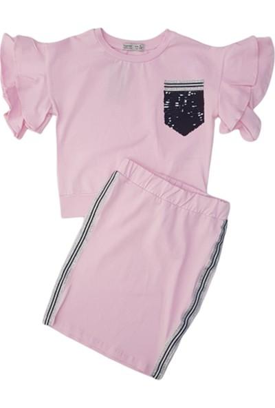 Minnak Kids 10788 Pullu Şeritli Kız Çocuk Penye Etekli Takım