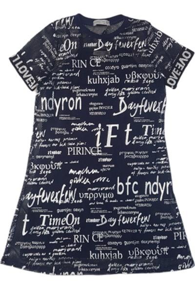 Minnak Kids 10721 Yazı Baskılı Üstü Fileli Kız Penye Elbise