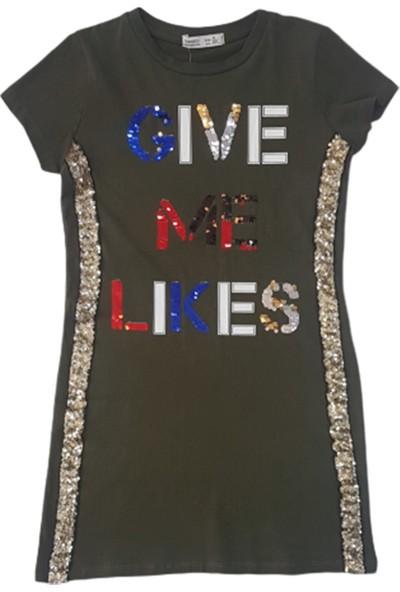 Minnak Kids 10755 Give Me Likes Pullu Kız Tunik Elbise