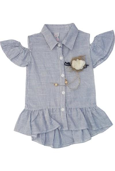 Dadiva 102 Kız Çocuk Çiçekli Çizgili Gömlek