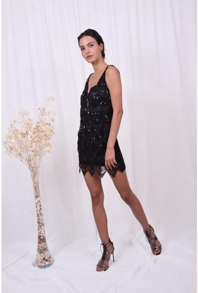 The Most Fashion Kadın Ön Payetli Arka Düz Kumaş Elbise
