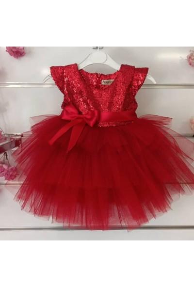 Pumpido Kırmızı Pullu Tüllü Elbise - 104 cm