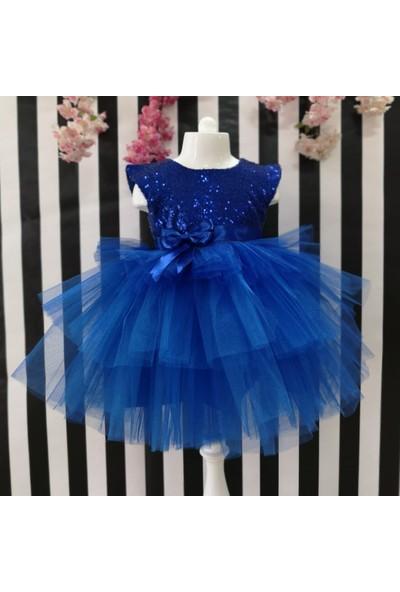 Pumpido Pullu Tüllü Elbise - Mavi - 116 cm
