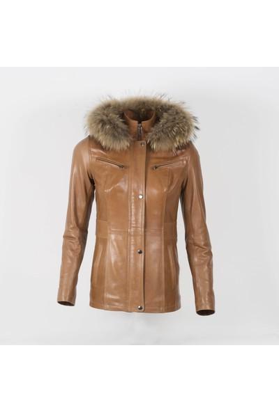 By Motto Nancy Kadın Taba Vegetal Deri Ceket