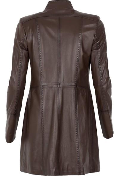 By Motto Frida Kadın Uzun Klasik Deri Ceket