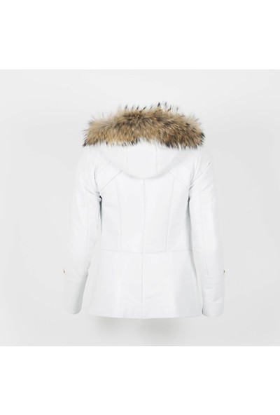 By Motto Inna Kar Beyazı Kadın Kürklü Deri Ceket