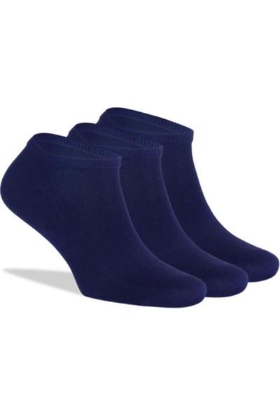 Brogetti Sneakers Lacivert Unisex Çorap Bambu Kısa Soket 3'lü Paket