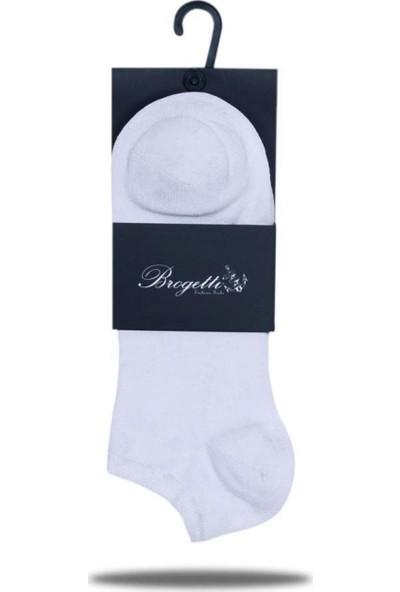 Brogetti Sneakers Beyaz Erkek Çorap Bambu Kısa Soket 3'Lü Paket