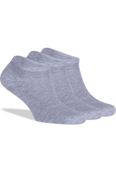 Brogetti Sneakers Gri Melanj Erkek Çorap Bambu Kısa Soket 3'Lü Paket