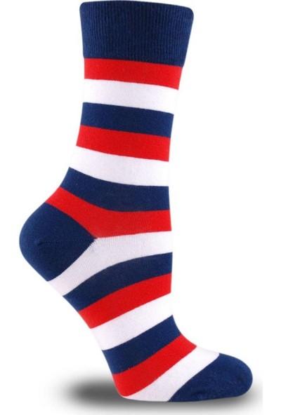 Brogetti Rikward 3 Renk Çizgi Detaylı Soket Çorap