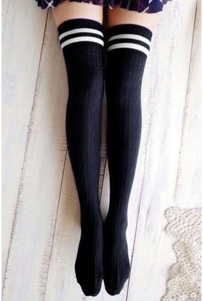Brogetti Siyah Saç Örgü Diz Üstü Çizgi Detaylı Çorap