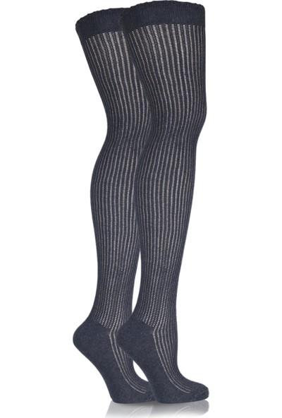 Brogetti Delikli Uzun Diz Üstü Çorap Antrasit Galina