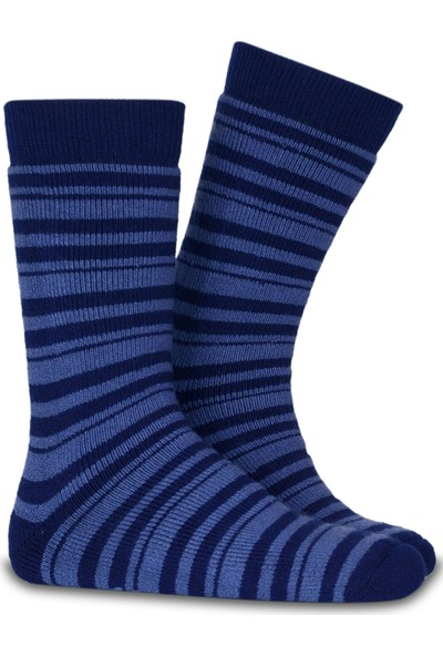 Brogetti Lacivert Çizgi Desen Kışlık Çorap