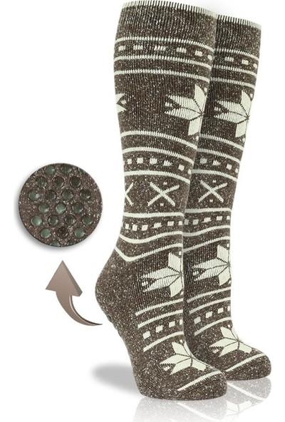 Brogetti Kaymaz Silikonlu Taban Uzun Konç Bayan Kışlık Çorap