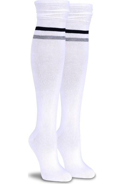 Socks Concept Siyah-Gri Çizgi Detaylı Beyaz Dizüstü Çorap