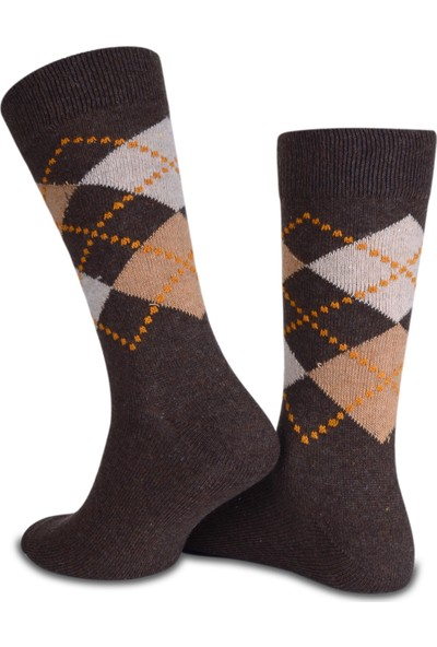 Socks Concept Kahverengi Ekose Desen Erkek Kışlık Çorap