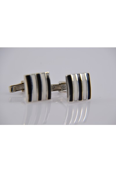 Karakaya Kuyumculuk Siyah Beyaz 925 Ayar Gümüş Kol Düğmesi