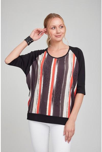 Optique Kadın Dikine Karışık Çizgili Geniş Yaka Bluz