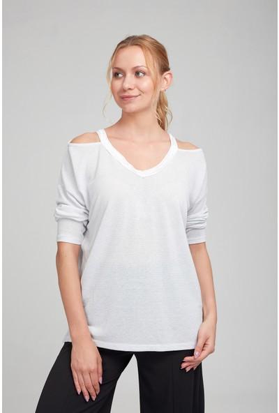 Optique Kadın Yakası Yırtmaçlı V Yaka Bluz