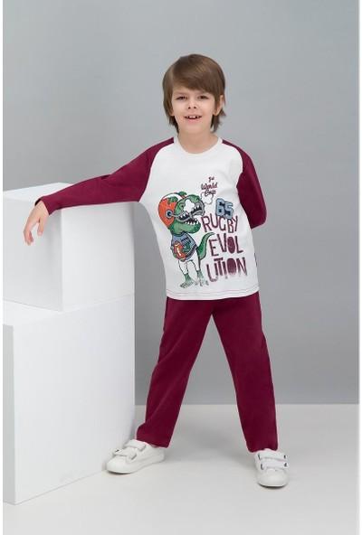 Roly Poly Rugby Dinosaur Krem Erkek Çocuk Pijama Takımı
