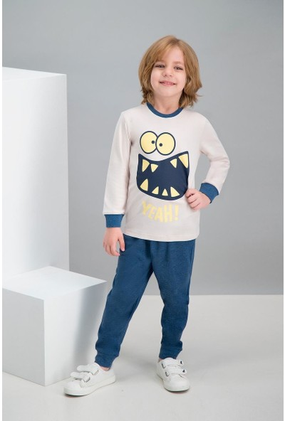 Roly Poly Yeah Monster Bej Erkek Çocuk Pijama Takımı