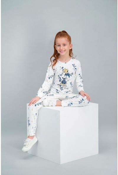 Minnie Mouse Lisanslı Krem Kız Çocuk Pijama Takımı