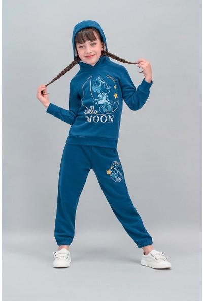 Minnie Mouse Lisanslı Lacivert Kız Çocuk Kapüşonlu Eşofman Takımı