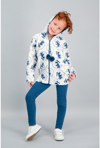 Minnie Mouse Lisanslı Krem Kız Çocuk Tayt, Kapüşonlu Tunik Takım