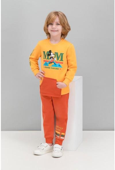 Mickey Mouse Lisanslı Sarı Erkek Çocuk Kanguru Cepli Eşofman Takımı