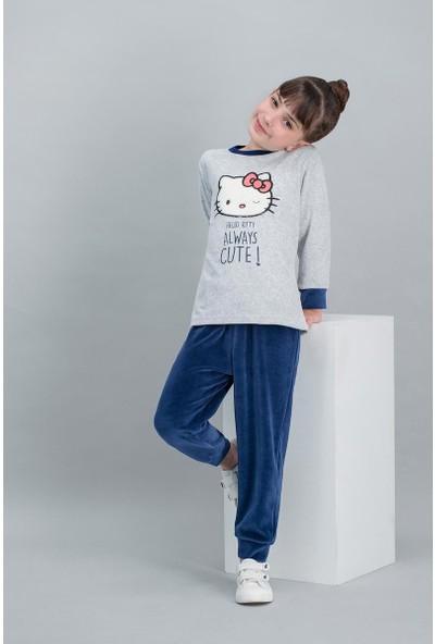 Hello Kitty Lisanslı Karmelanj Kız Çocuk Kadife Pijama Takımı