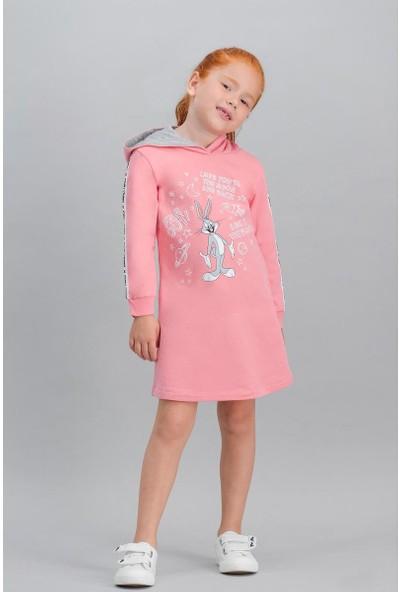 Bugs Bunny Lisanslı Şeker Pembe Kız Çocuk Kapüşonlu Elbise
