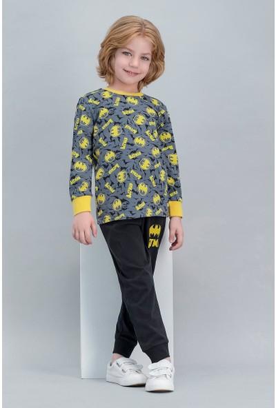 Batman Lisanslı Gri Erkek Çocuk Pijama Takımı