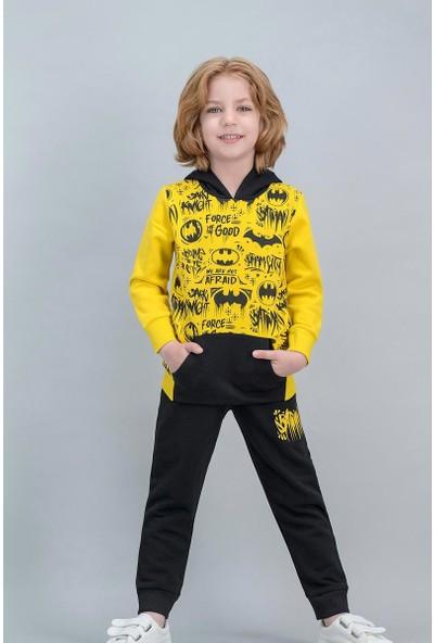 Batman Lisanslı Sarı Erkek Çocuk Kapüşonlu Kanguru Cepli Eşofman Takımı