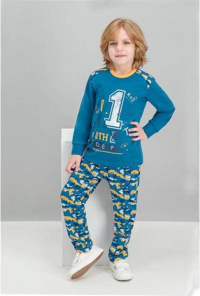 Roly Poly No 1 Kamuflaj Koyu Petrol Erkek Çocuk Pijama Takımı