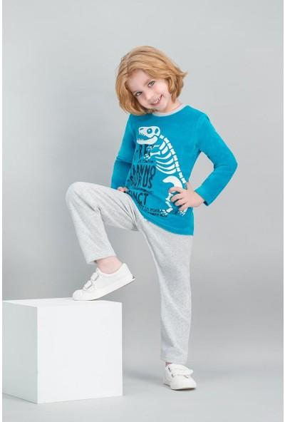 Roly Poly T-Rex Dinosaur Açık Petrol Erkek Çocuk Kadife Pijama Takımı