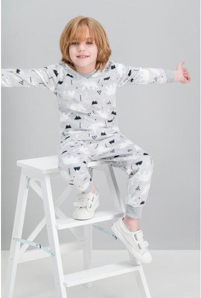 Roly Poly White Bear Gri Erkek Çocuk Polar Pijama Takımı