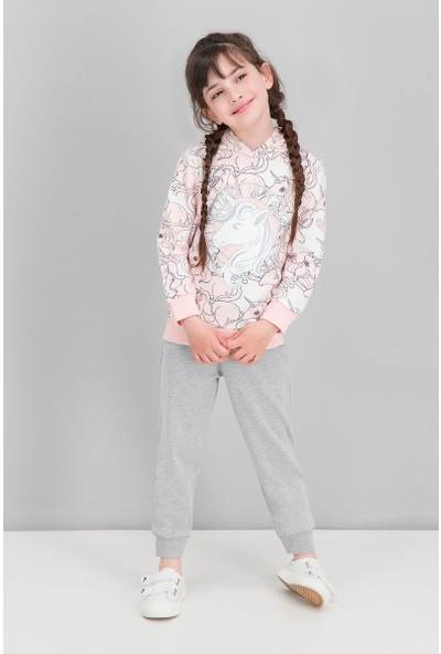 Roly Poly Unicorn Krem-Pembe Kız Çocuk Kapüşonlu Eşofman Takımı