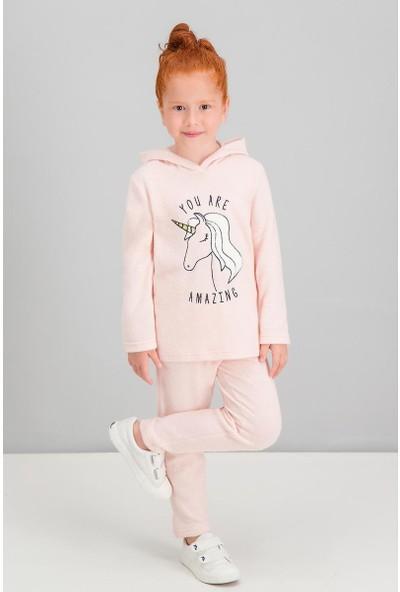 Roly Poly Unicorn Face İnci Pembe Kız Çocuk Kapüşonlu Eşofman Takımı