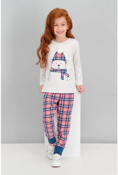 Roly Poly Bear Ekose Kremmelanj Kız Çocuk Pijama Takımı