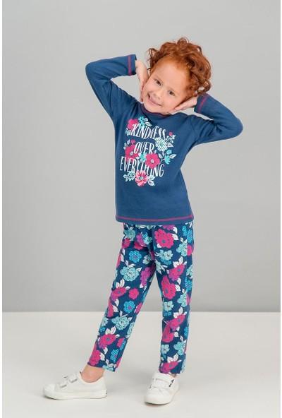Roly Poly Kindness Flowers Lacivert Kız Çocuk Pijama Takımı