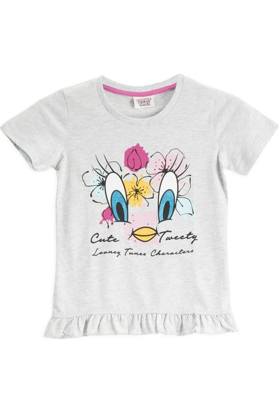 Looney Tunes Lisanslı Açık Gri Kız Çocuk T-Shirt