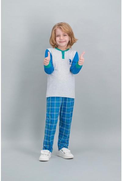 U.S. Polo Assn Lisanslı Ekose Karmelanj Erkek Çocuk Pijama Takımı