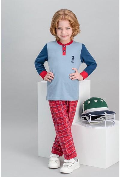 U.S. Polo Assn Lisanslı Ekose Mavi Erkek Çocuk Pijama Takımı